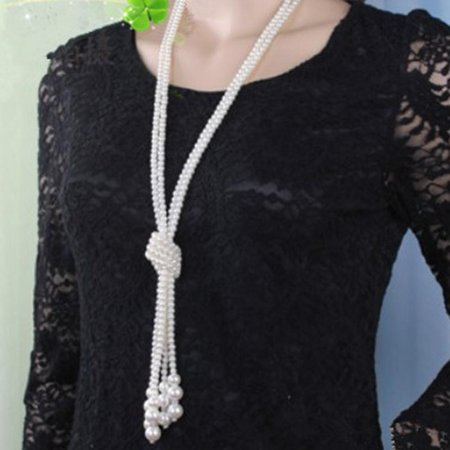 Trendy Fashion Jewelry (Stylish Long Multi Layer Pearl Knot Necklace Casual Women Trendy Fashion Jewelry )