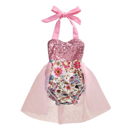 Newborn Baby Girl Halter Floral Romper Dress Pink Sequined Backless Mesh Rompers Jumpsuit Outfit Sunsuit Kids Clothes