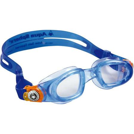b6b353d46fb1 Aqua Sphere Moby Kid Goggles  Blue Orange with Clear Lens - Walmart.com