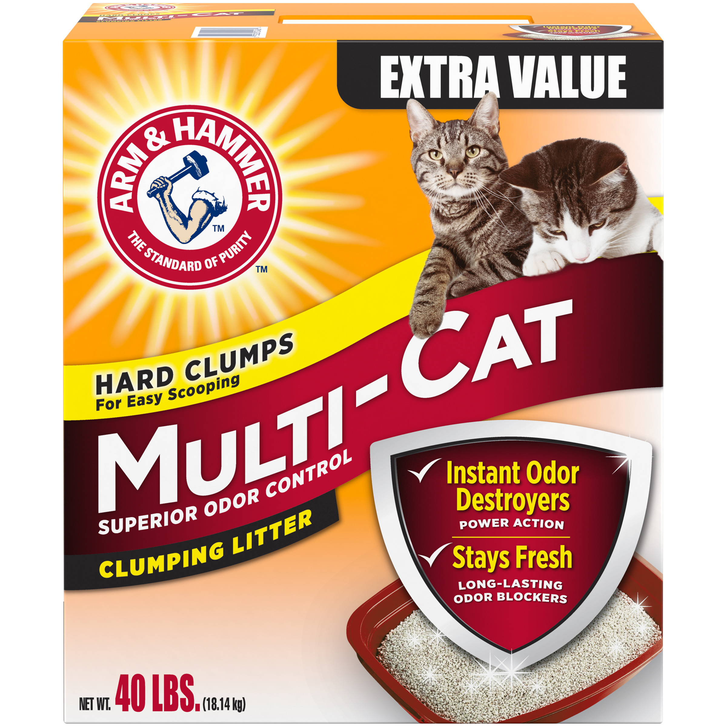 Arm & Hammer Multi-Cat Clumping Litter, 40-lb