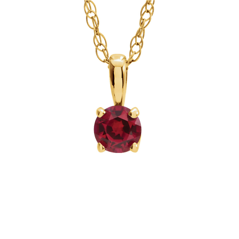 Youth 3mm Round Created Ruby Necklace in 14k Yellow Gold, 14 Inch by Black Bow Jewelry Company
