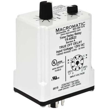 MACROMATIC TR-60622 Time Delay Relay,120VAC/DC,10A,DPDT on