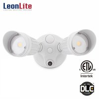 LEONLITE 20W Two-head LED Security Light, Dusk to Dawn Photocell, LED Flood Light for Yard, Garage, Porch, Entryways, Porch, 5000K Daylight, White