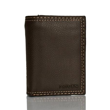 Men's Trifold Leather Wallet With Interior Zipper - image 1 de 1