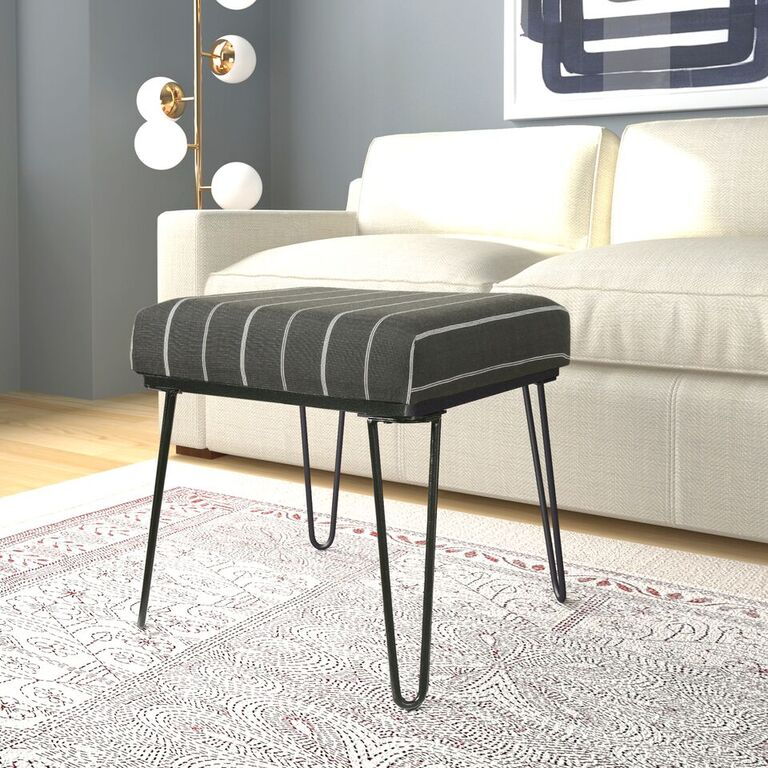 HomePop Faux Fur Metal Ottoman with Hairpin Legs, Gray