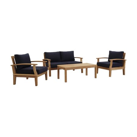 Modway Marina 4 Piece Outdoor Patio Teak Sofa Set in Natural White ()