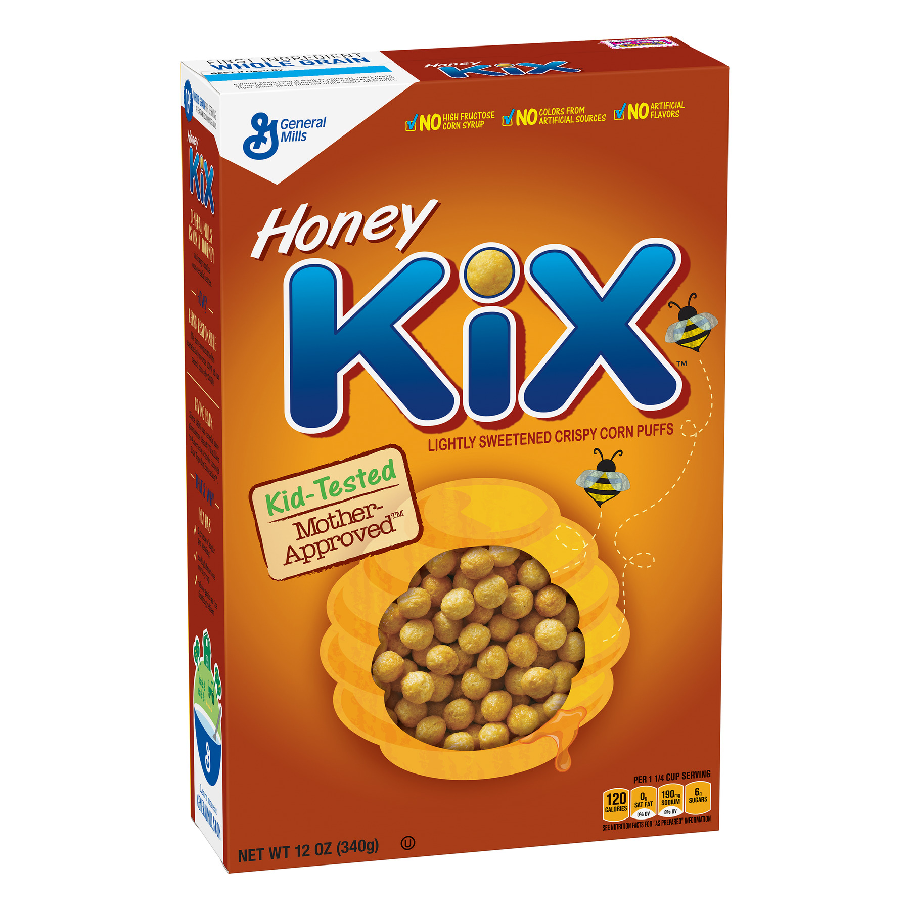Honey Kix Breakfast Cereal, Crispy Corn Puffs Cereal, 12 oz