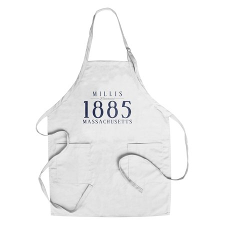 Millis  Massachusetts   Established Date   Lantern Press Artwork  Cotton Polyester Chefs Apron