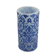"""6"""" Blue Brocade Battery Operated Flameless LED Color Changing Wax Christmas Pillar Candle"""