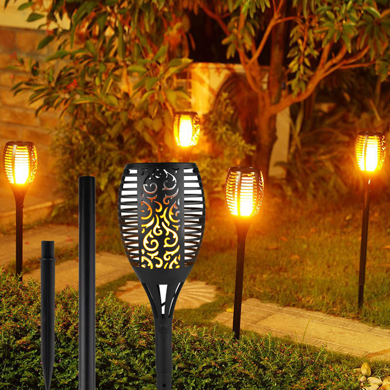 Cinoton Solar Light,Path Torches Dancing Flame Lighting 96 LED Dusk to Dawn