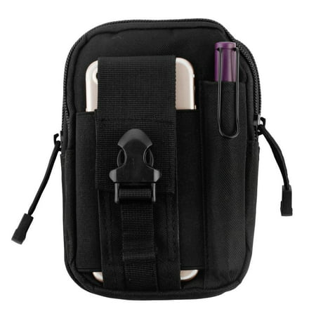 Heavy Duty Canvas Sports Activity Waist Pack Pocket Belt for BlackBerry KEYone, Motion, DTEK70, Mercury, DTEK60, Priv, Q10, Z10, Passport, Z30, Bold 9900, Classic (Black) + MND Mini Stylus