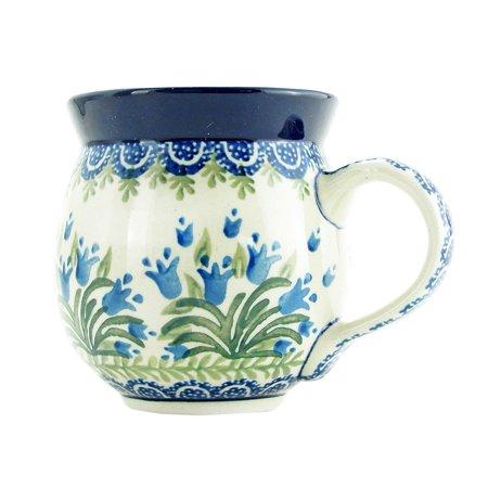Hand Thrown Pottery Mugs (Polish Pottery 11 oz Handmade Bubble Mug Traditional Pattern 070-Blue)