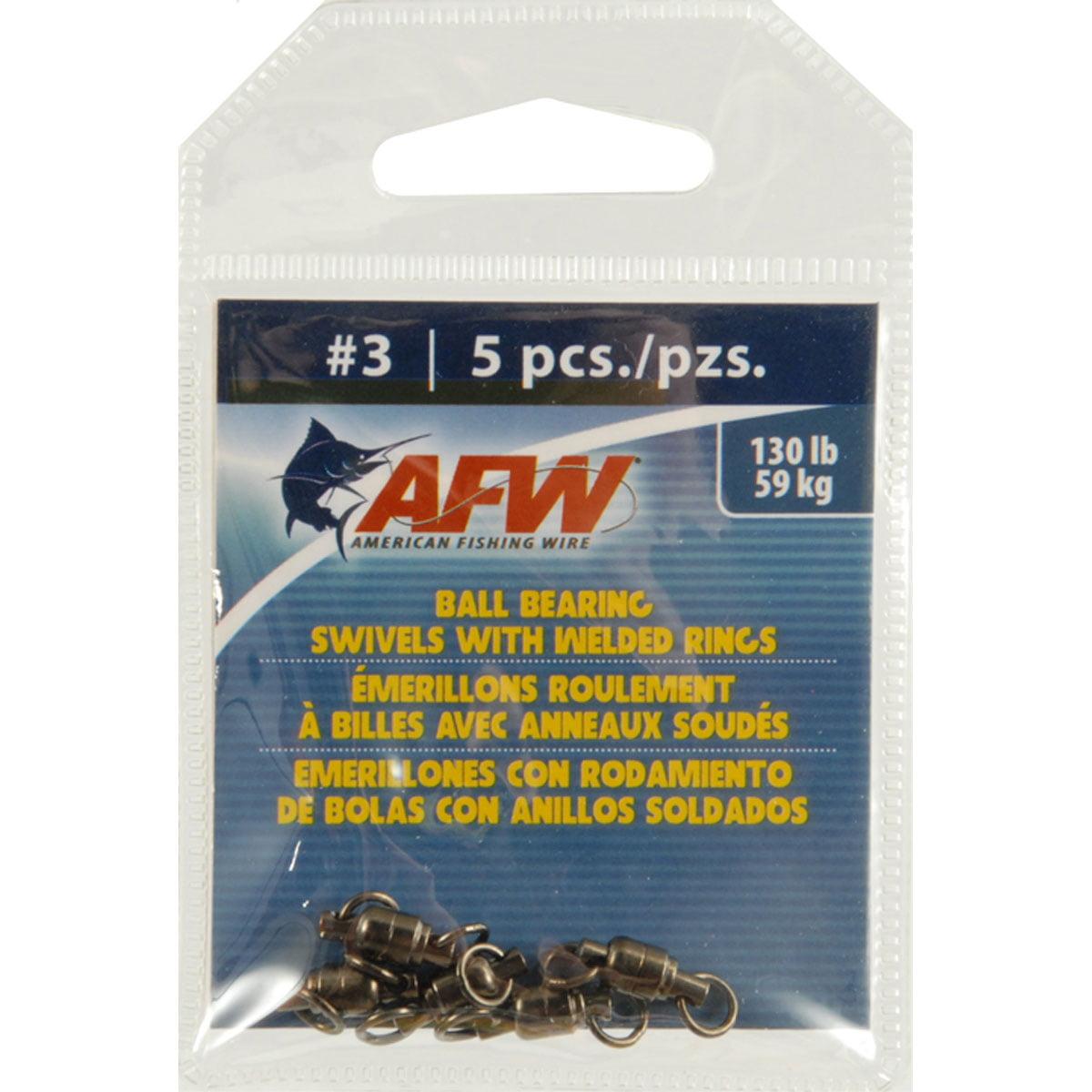 American Fishing Wire Ball Bearing Swivels 130# Black 5Pc - BH-BXRBC1284
