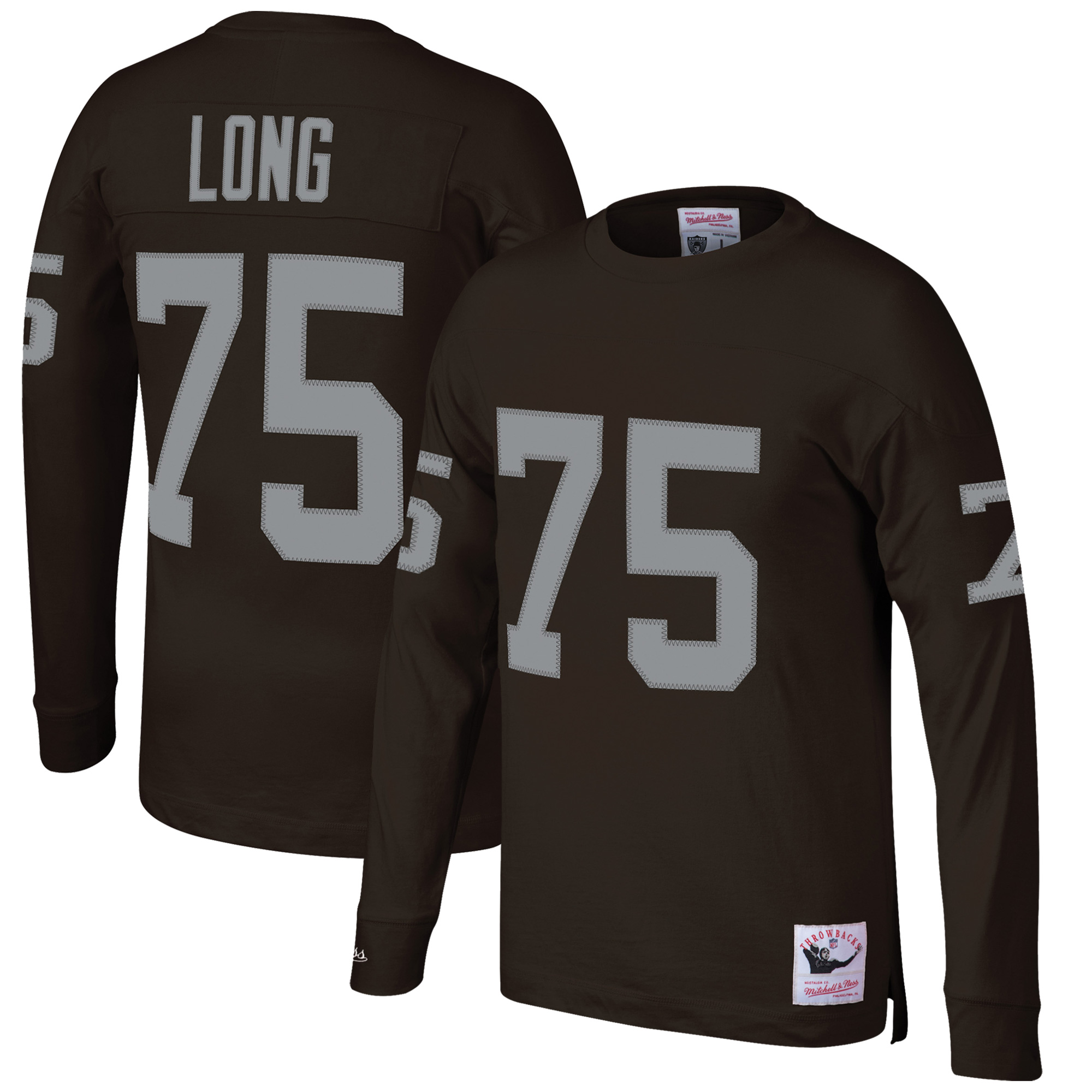 Howie Long Oakland Raiders Mitchell & Ness Throwback Name & Number Long Sleeve T-Shirt - Black
