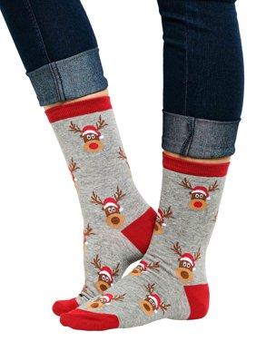 360 Threads Christmas Reindeer Novelty Socks All-Over Print Grey Crew (Women's)