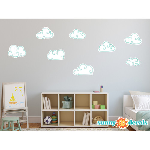 Sunny Decals Hand Drawn Cloud Fabric Wall Decal