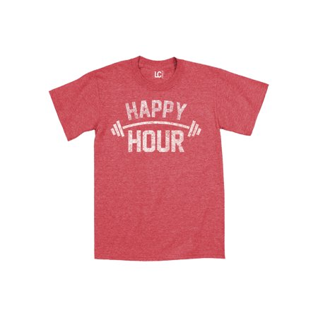 Happy Hour Barbell Fitness Funny Gym-Mens T-Shirt
