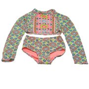 Girl Girls Multi Color Star Cross Two Piece Rashguard Swimsuit 7