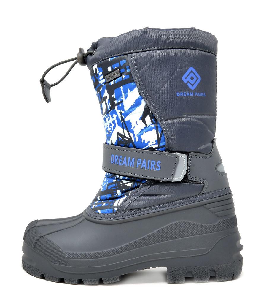 DREAM PAIRS Little Kid Kamick Grey Mid Calf Waterproof Winter Snow Boots Size 3 M US Little Kid