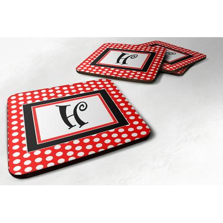 Set of 4 Monogram - Red Black Polka Dots Foam Coasters Initial Letter H