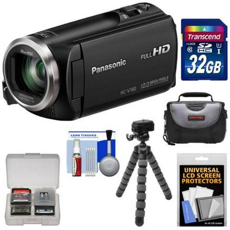 Panasonic Web Video Camera (Panasonic HC-V180 HD Video Camera Camcorder with 32GB Card + Case + Flex Tripod + Kit )