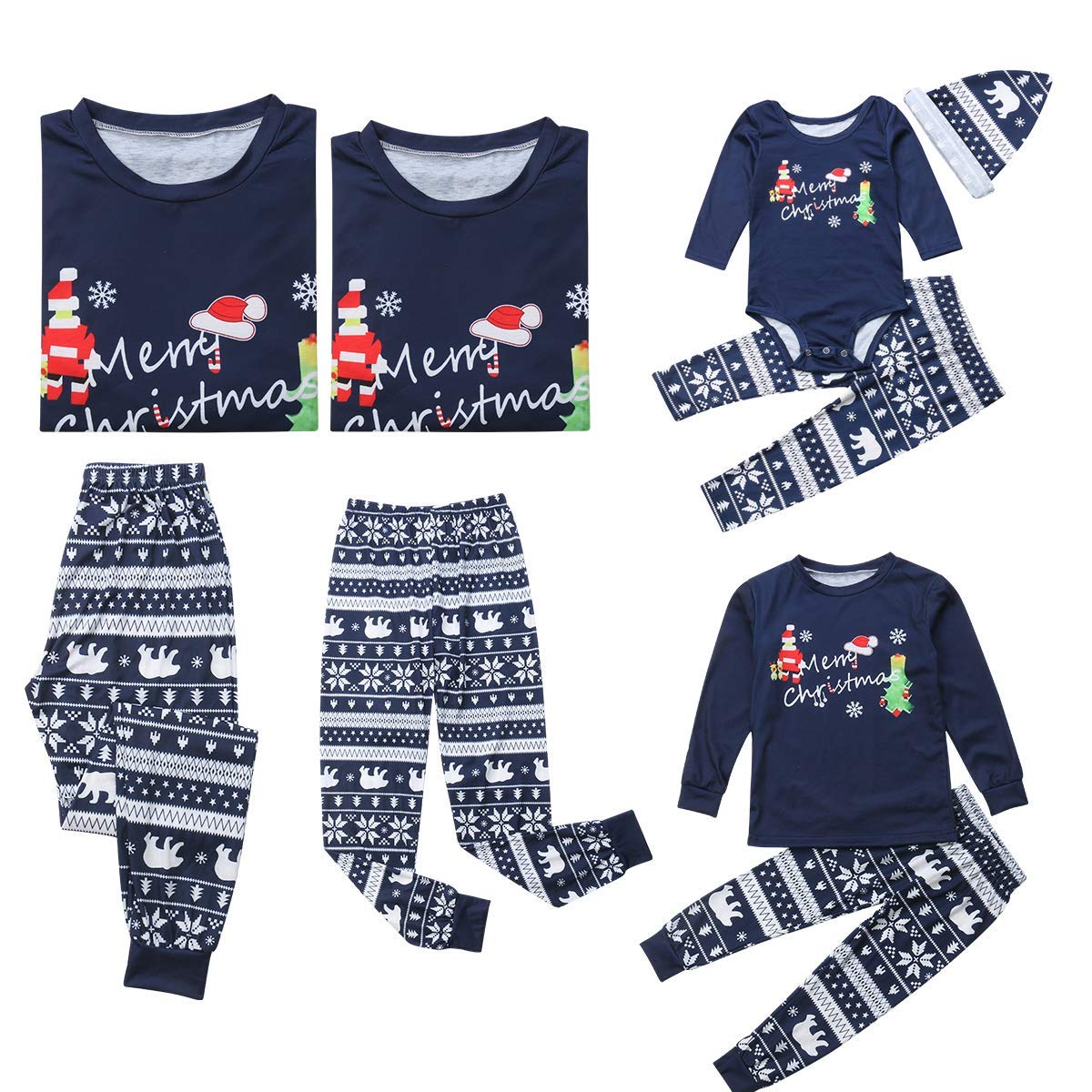 Family Matching Christmas Set Santa Print Long Sleeve Pajamas Sleepwear Top Trousers Romper Sets for Family Daddy MOM Baby