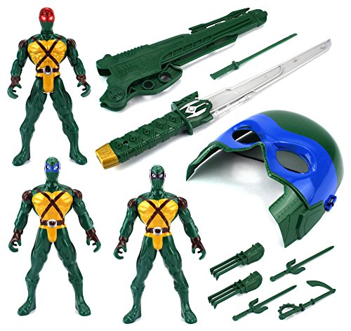 Super Ninja Mask & 3 Warriors Children Kid's Toy Action Figure Playset w  Toy Mask, Sword,... by Velocity Toys
