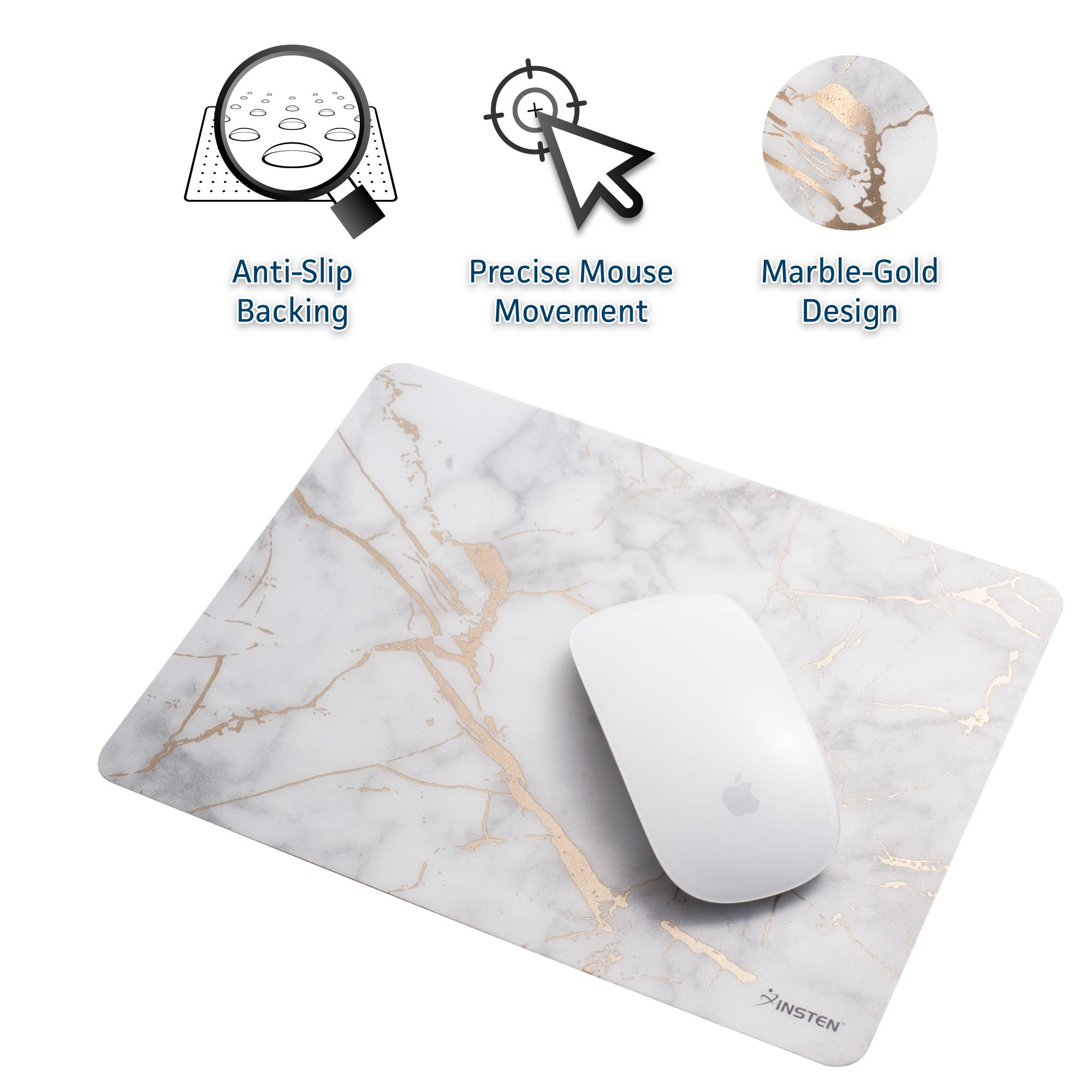 Insten 2 Pack High Quality Ultra Thin Reflective Non Slip Marble Mouse Pad Mat - White/Gold