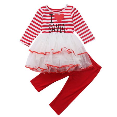Christmas Tutu Outfits.Baby Girls Christmas Outfits Long Sleeve I Love Santa Tutu Dress With Legging Pant 2 3 Year