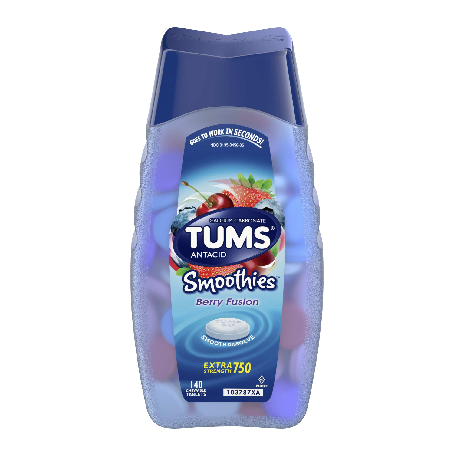 TUMS Smoothies Berry Fusion Extra Strength Antacid Chewable Tablets for Heartburn Relief, 140 Tablets