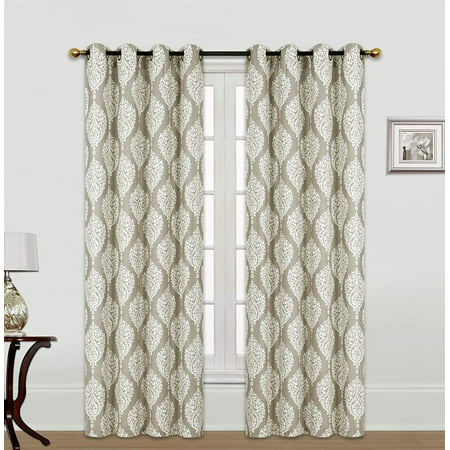 Set of 2 Kashi Home Scarlett 54x84 Inch Window Curtain with Grommets, Weave Fabric Decorative Damask Print Panel for Living Room, Bedroom - Taupe (Orange Damask Curtains)