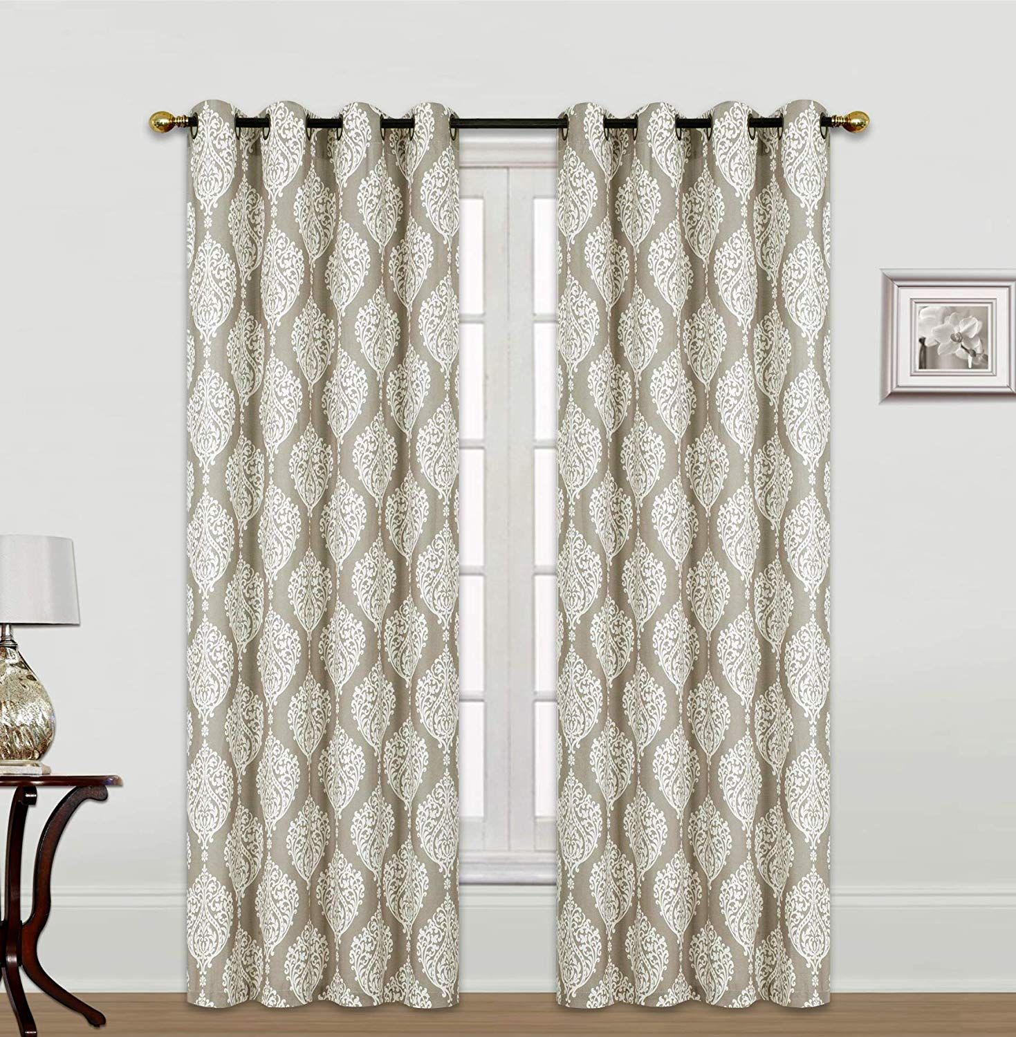 Set of 2 Kashi Home Scarlett 54x84 Inch Window Curtain with Grommets, Weave Fabric Decorative Damask Print Panel for Living Room, Bedroom - Taupe