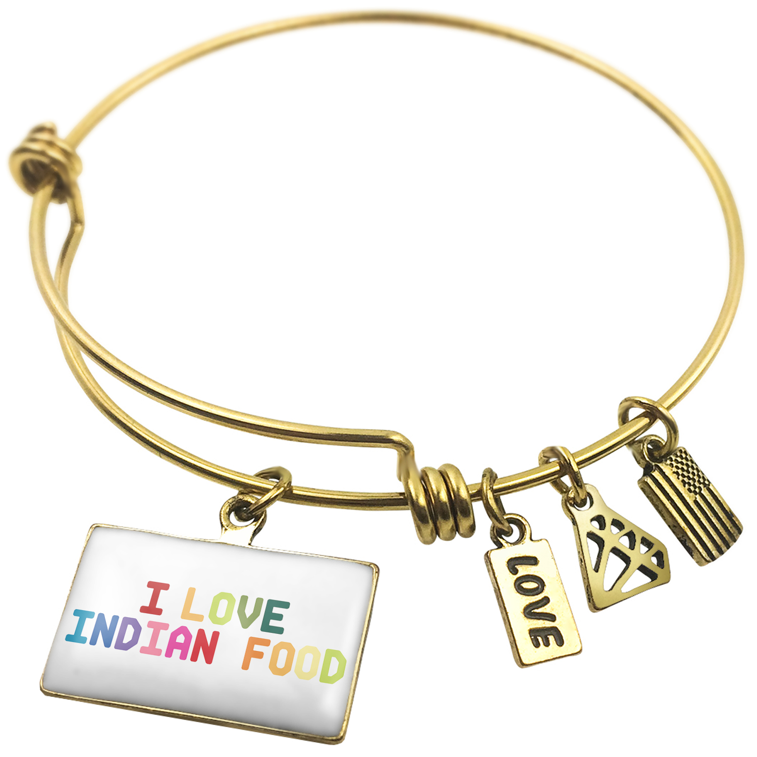 Expandable Wire Bangle Bracelet I Love Indian Food,Colorful - NEONBLOND