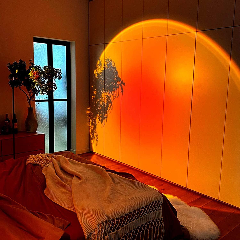 Sunset Projection Lamp, 180-Degree Rotating Rainbow Floor ...