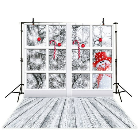 GreenDecor Polyster 5x7ft White Snowman Christmas Photography Backdrops Snowflake Window Backgrounds Snow Candy Christmas Photo Studio Prop