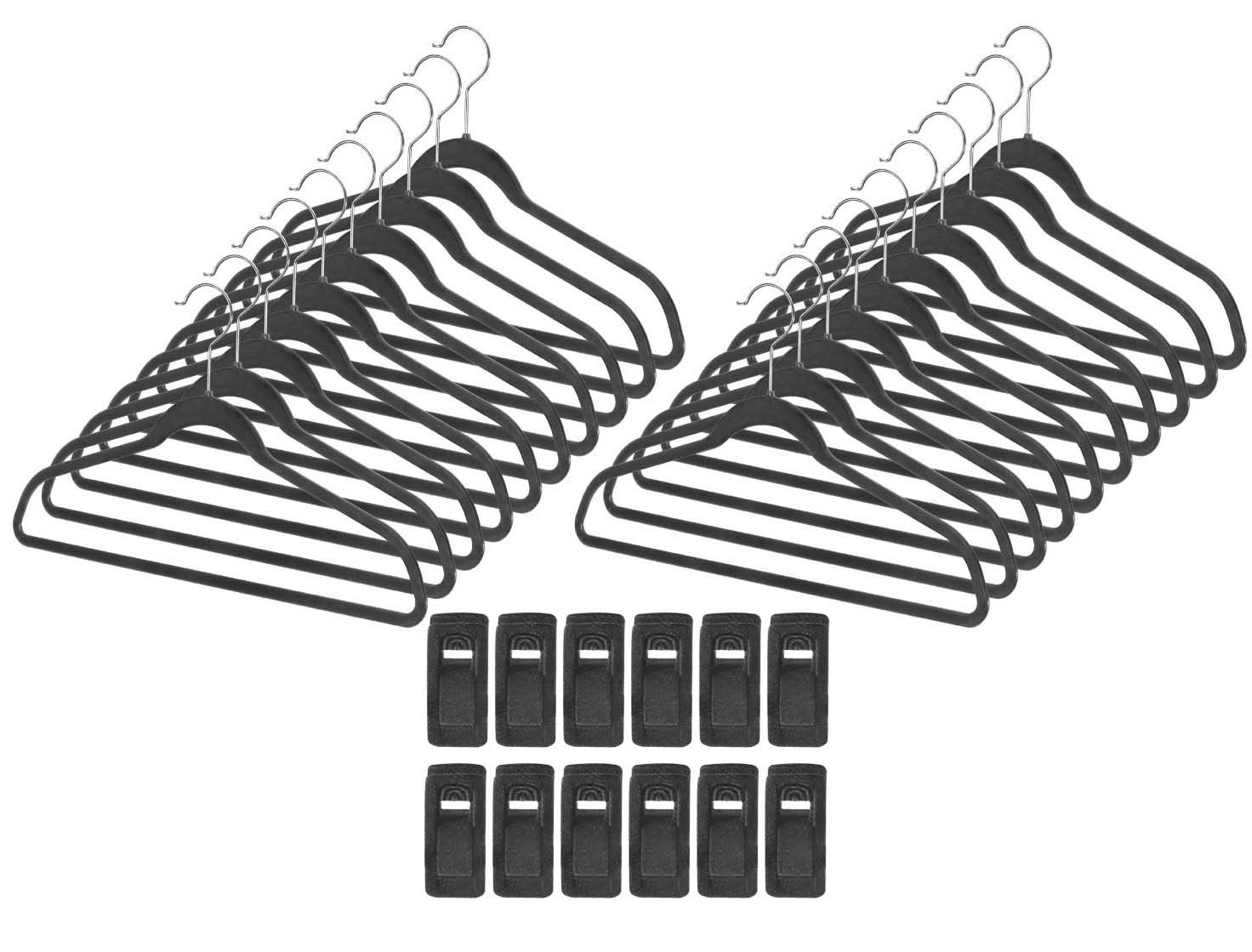 Maven Gifts: Whitmor Home Organization 2-Pack � Set of 20 Space Maker Collection Plastic Suit Hangers, Black with Set of... by