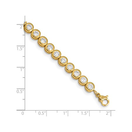 Stainless Steel Yellow IP-plated Polished CZ Tennis w/ 1in ext. Bracelet - image 2 de 4