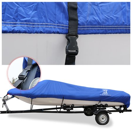 """14-16ft 90"""" 300D Polyester Boat Cover Waterproof Blue V-Hull Protector - image 3 de 9"""