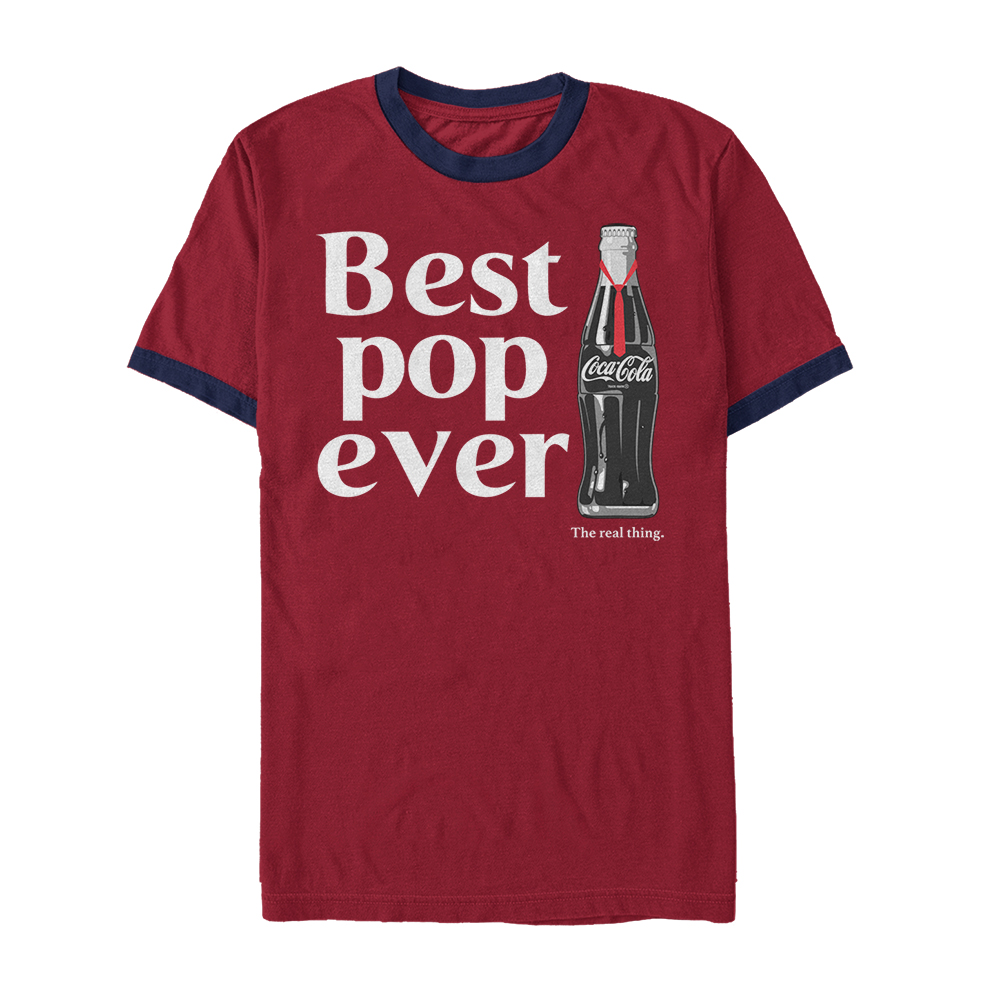 Coca Cola Best Pop Ever Bottle Mens Graphic Ringer T Shirt by Fifth Sun