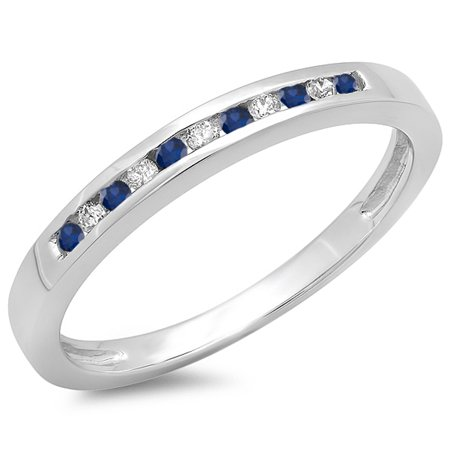 10K Gold Round Blue Sapphire & White Diamond Ladies Anniversary Wedding Band Stackable Ring