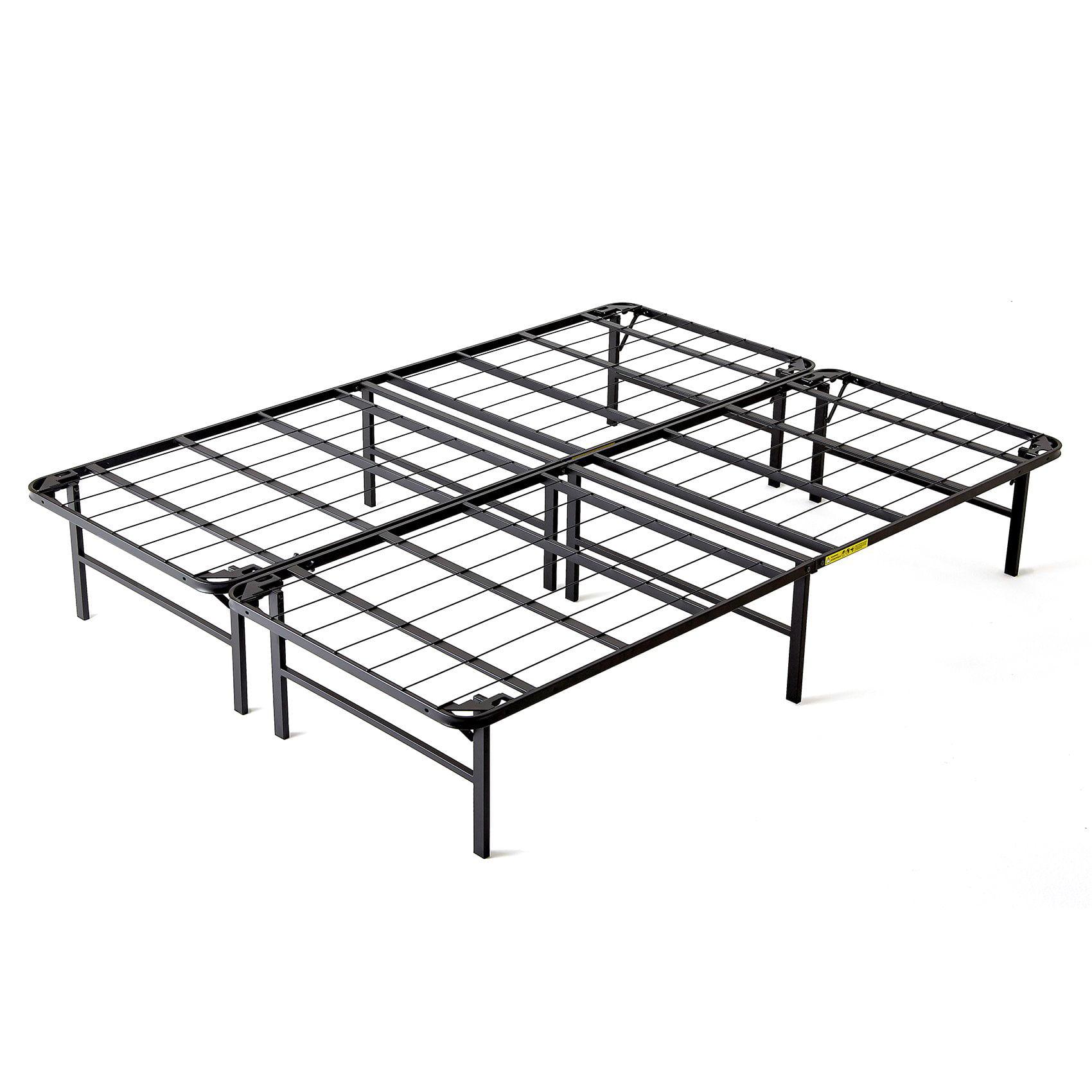 intelliBASE Lightweight Easy Set Up Bi-Fold Platform Metal Bed Frame, Full