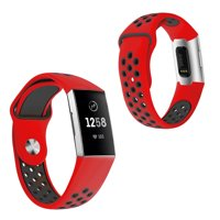 Mignova Fitbit Charge 3/Charge 3 SE Watch Bands, Soft Silicone Replacement Sport Watch Wrist Band Strap for Fitbit Charge 3/Charge 3 SE Fitness Tracker-Red/Black