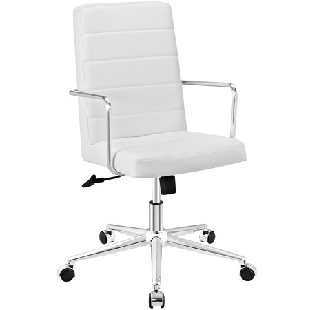 Modern Contemporary Urban Design Work Home Office Highback Office Chair  White  Faux Leather