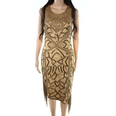 Unique Vintage Womens Embellished Fringe Sheath Dress
