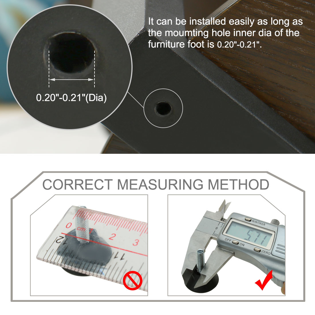 M6 x 20 x 25mm Adjustable Leveling Feet Floor Protector for Table Leg 4pcs - image 6 of 7