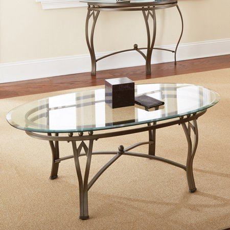 Steve Silver Madrid Oval Glass Top Coffee Table - Oval Coffee Table