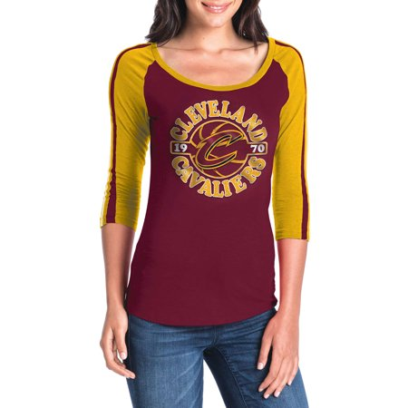 buy online bde6a 34014 Women's New Era Wine/Gold Cleveland Cavaliers Slub Jersey T-Shirt