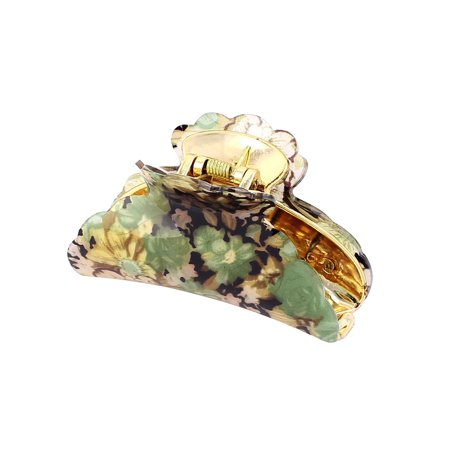 Women Spring Flower Floral Print Plastic Hair Jaw Claw Clamp (Claw Clamp)