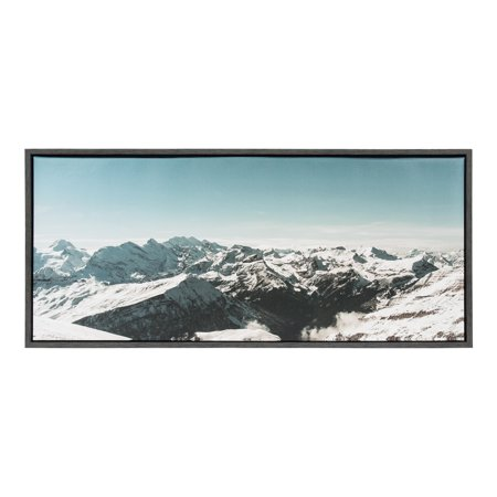 Alph Art (Kate and Laurel Sylvie Snow Covered Swiss Alps Mountains Large Panoramic Landscape View Framed Canvas Wall Art by Robert Cadloff, 18x40 Dark Gray)