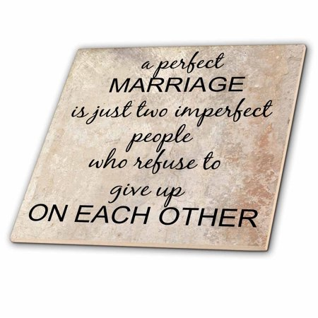 3dRose a perfect marriage, black lettering on picture of marble print background - Ceramic Tile, 12-inch ()